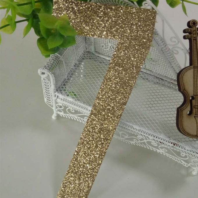 "Large Gold Number Seven Glitter Paper Letters Die Cut Size 5 "" * 2.3 """