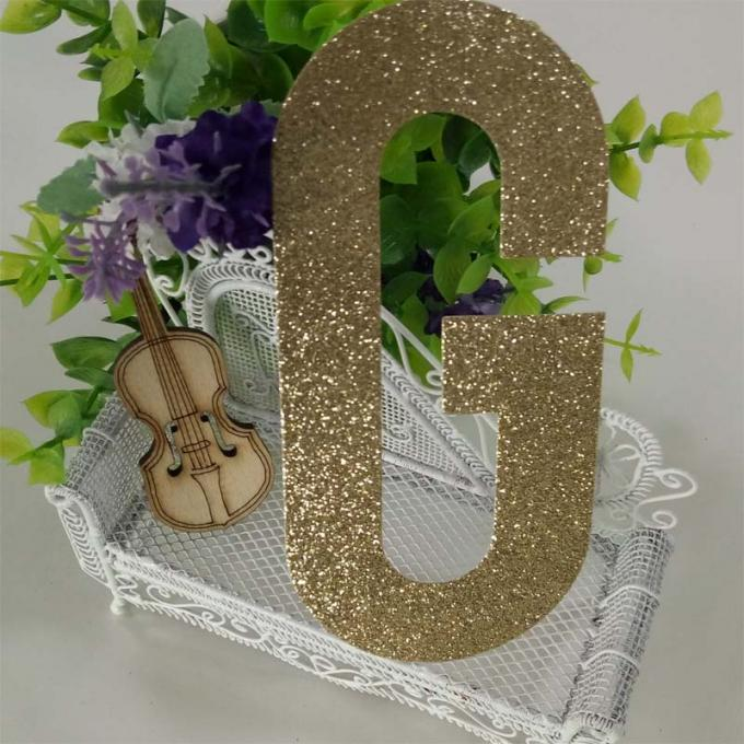 Die Cut Gold Decorative Glitter Paper Letters For Banner And Cake Topper