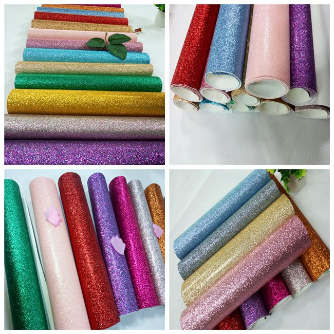 "Decoration 50meters One Roll PU Glitter Fabric Synthetic Leather Material With 54"" Width"