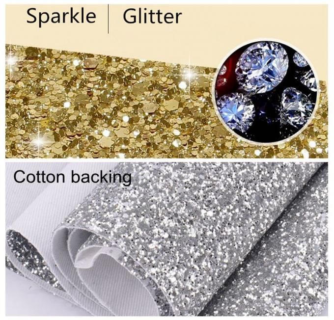 Cotton Backing Laser Black Glitter Fabric , Sparkle Mixed Glitter Material Fabric