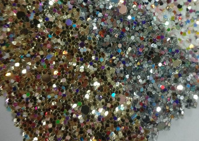 Fancy Holographic Synthetic Glitter Cotton Fabric For Wallpaper Shoes Bag