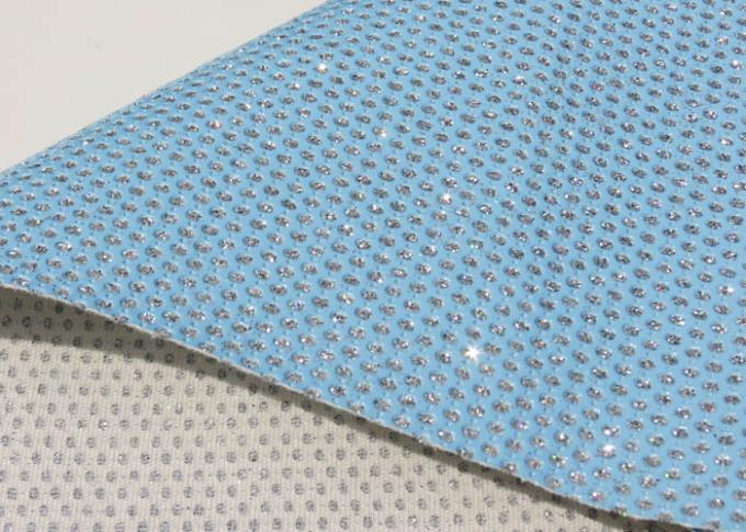 Light Blue Beautiful Perforated Leather Fabric Waterproof Leather Material Fabric