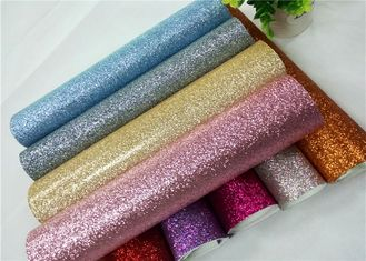 China Shoes Bags Wallpaper Glitter Fabric Roll Knitted Backing Technics 0.6mm Thickness supplier