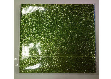 China Light Green Frosted Chunky Glitter Fabric 0.55mm Thickness For Shoes And Wallpaper supplier
