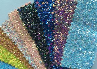 "China Fashion Chunky Glitter Fabric 3D Glitter Fabric For Hairbows 54/55"" Width supplier"