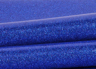 China Blue Pvc Glitter Fabric With Cloth Bottom , Special Textile Leather Sparkle Glitter Fabric supplier