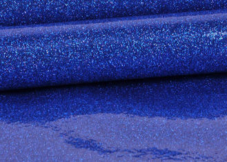 Blue Pvc Glitter Fabric With Cloth Bottom , Special Textile Leather Sparkle Glitter Fabric