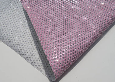 China Chunky Metallic Sequined Perforated Leather Fabric Wallpaper Home Decoration Curtain supplier