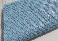 China Light Blue Beautiful Perforated Leather Fabric Waterproof Leather Material Fabric factory