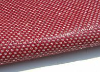 Bright Red Perforated  Fabric , PU Mirror Leather Perforated Polyester Fabric