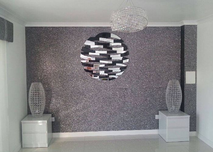 Thick Material Removable Shiny Silver Wallpaper Wall Covering For Salon 27cdf9d596bb