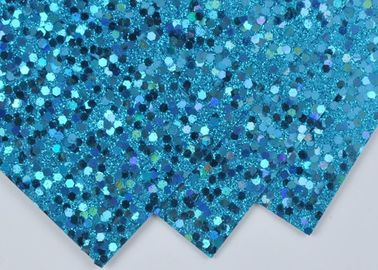 China Light Blue Sparkle Glitter Paper , Wall Decor Color Custom Glitter Paper distributor