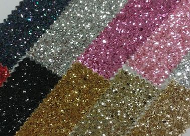 China Grade 3 Chunky 3D Champagne Glitter Fabric 1.2mm Thickness PU Fabric With 3D Chunky Glitter factory