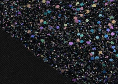 China Cotton Backing Laser Black Glitter Fabric , Sparkle Mixed Glitter Material Fabric distributor