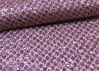 China Soft Handfeeling Glitter Mesh Fabric Design Pu Synthetic Leather For Shoe distributor