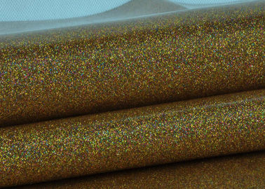 China Synthetic Mirror Leather Glitter Fabric Roll / Gold Glitter Fabric 0.4mm Thickness distributor