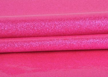 China Durable Synthetic Leather Glitter Pvc Fabric Rose Red Color For Making Bags factory