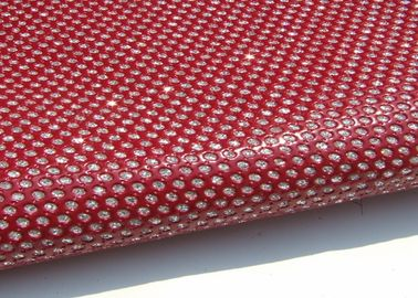 China Bright Red Perforated  Fabric , PU Mirror Leather Perforated Polyester Fabric distributor