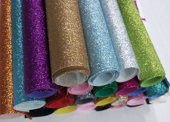 Nonwoven Fine Blue Sparkle Glitter Fabric , Real Shiny Glitter Fabric For Table Runner